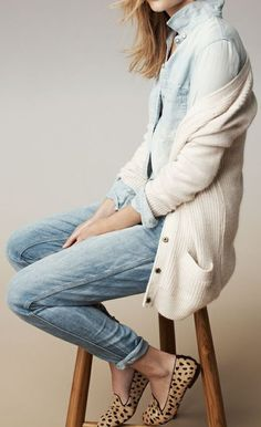 5a0953b4d36a99 comfy cardigan with blue dress shirt and jeans Cream Cardigan Outfit