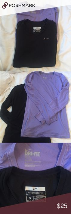 Long sleeve Nike Dri Fit Cotton 2 pack One black and one light purple. Both size small, Nike dri fit cotton, long sleeve tops. Both included. Nike Tops Tees - Long Sleeve