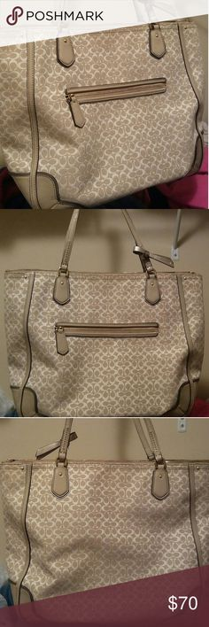Coach Poppy glam tote,F1371-26427.Cream and gold Beautiful Coach tote.Has patent cream trim and bottom.Signiture Coach motif in Cream and gold thread.Interior is lilac and in excellent condition.Like new,no rips or stains on outside.The only small imperfection is the curve in the top handles are cracked.Otherwise looks brand new. Width is 14inches,height is 13 inches and handle drop about 12 inches.Has a 9 inch opening.Very nice bag and pricing it accordingly. Coach Bags Totes