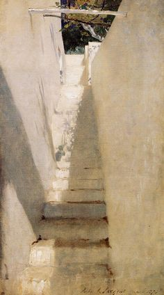 """""""Staircase in Capri,"""" John Singer Sargent, 1878, oil on canvas, 31.5 x 17.5"""", private collection."""