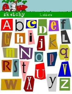 Alphabet letters to cut out illustration of individual letters cut 52 pages of letters no need to cut out just place them where you want spiritdancerdesigns Images