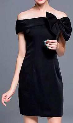 Off-Shoulder Bow-Tie Dress-Black