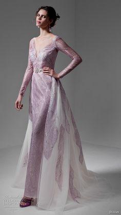 jillian 2017 bridal long sleeves v neck full embellishment lavender color sheath wedding dress a  line overskirt low back sweep train (mara) mv