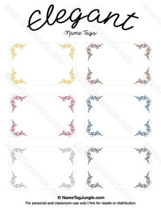 Free printable elegant name tags. The template can also be used for creating items like labels and place cards. Download the PDF at http://nametagjungle.com/name-tag/elegant/
