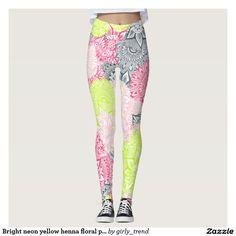 Bright neon yellow henna floral paisley pattern leggings