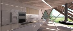 The angular shape and tee-pee-esque stature allows for a unique living space on the interior, with optimal natural light flooding the entire home.