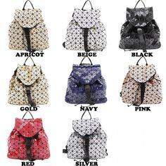 New Girls Triangle Glossy Geometric Pattern Ladies Women Back Pack School Bags #Clicktostye #Backpack