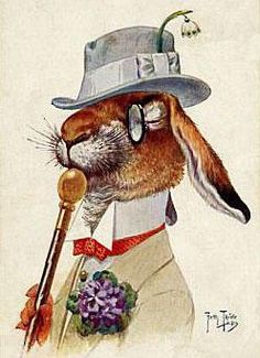 BUNNY RABBIT DANDY, DRESSED FOR EASTER, MAGNET, from THIELE POSTCARD