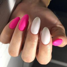 Two Color Nails Almond Shaped Long Manicure 2018 Ideas Plain
