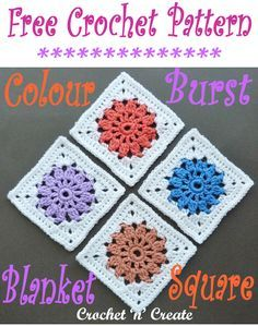 Color Burst Blanket Square - Use up your color scraps of yarn with this square motif, you can use as many colors as you want or limit it to just a few. Get the free crochet pattern below in UK and USA format. Crochet Motif Patterns, Crochet Blocks, Crochet Granny, Granny Granny, Afghan Patterns, Knitting Patterns, Granny Squares, Granny Square Pattern Free, Free Pattern