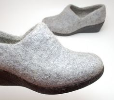 Felted wool wedge clogs Gray  organic wool booties by WoolenClogs, $110.00