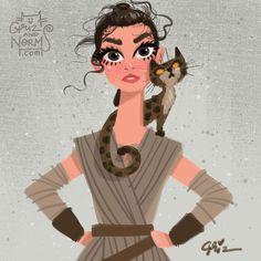 My new favorite Star Wars female character, Rey with her bengal. #griz #grizandnorm #kittycatclub #starwars #fanart #bengal #cat #kitty #Rey