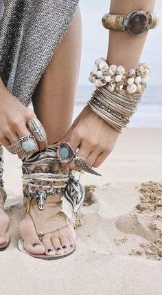 ≫∙∙ boho, feathers + gypsy spirit ∙∙≪   Love it all!  Bracelets and Rings!  Boho, Gypsy, Hippie Jewelry!