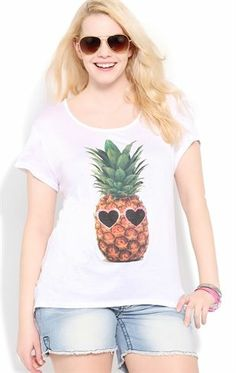 Deb Shops Plus Size Short Sleeve Tee with Pineapple in Sunglasses Screen $12.50
