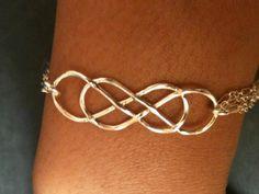 Double infinity bracelet, Infinity bangle, sterling silver bracelet, bracelet, handcrafted bracelet by EllynBlueJewelry on Etsy https://www.etsy.com/listing/158917683/double-infinity-bracelet-infinity-bangle