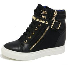Women's Black Gold Rock Studded Strap Buckle Zip High Top Sneakers... ($49) ❤ liked on Polyvore