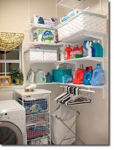Laundry Room Inspiration & Ideas- This looks cheap enough, would be good to do in our odd shaped laundry room, lavandaria Laundry Room Remodel, Laundry Closet, Laundry Room Organization, Small Laundry, Laundry Room Design, Laundry Storage, Garage Laundry, Cleaning Closet, Cabinet Storage