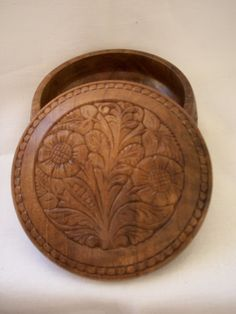 Hand Carved Wood Jewelry or Trinket Box.