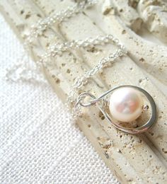 Pearl Necklace, Sterling Silver Infinity Necklace, Bridesmaid Necklace by MySweetNomsa on Etsy
