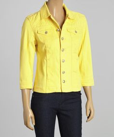Another great find on #zulily! Yellow Denim Jacket - Women by Live A Little #zulilyfinds