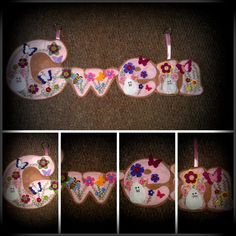 Gwen Name banner made out of pink and beige felt decorated with flowers in yellow, green, pink, and lilac with matching buttons too. Finished off with little mice and a bee  https://www.facebook.com/AHeartlyCraft