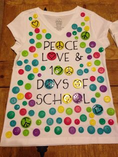 100 days of school shirt made from 100 buttons.