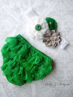 St Patrick's Day Green Grey and White Lace Flower by babyzdesigns, $14.00