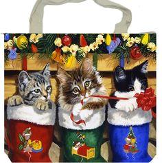cat illustrations and paintings Christmas Scenes, Christmas Animals, Christmas Cats, Christmas Pictures, Christmas Greetings, Christmas Ornaments, Christmas Stockings, Whimsical Christmas, Vintage Christmas