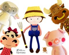 Old MacDonald Farm Sewing Pattern PDF Soft Toy Animals and Farmer DIY e book