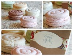 Love the swirl shape of these macarons paired with a fluffy buttercream. Reminds me of those pastel marshmallow ropes!