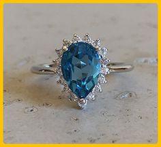 Blue Topaz Engagement Ring- Halo Engagement Ring- Blue Engagement Ring- December Birthstone Ring- Blue Promise Ring- Nontraditional Engagement Ring - Wedding and engagement rings (*Amazon Partner-Link)