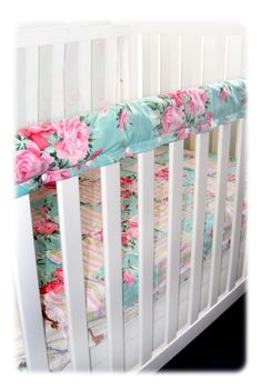 Cot Rail Protector Nursery Set: I really like how this fastens with button snaps instead of ties. Buttons would look super cute!