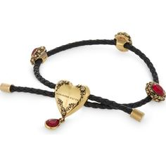 ALEXANDER MCQUEEN Heart charm Nappa leather bracelet ($385) ❤ liked on Polyvore featuring jewelry, bracelets, heart bangle, alexander mcqueen jewelry, swarovski crystal heart charm, heart jewelry and swarovski crystal jewelry