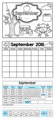 Calendar and Weather Journal. Get the pages for September FREE when you… First Grade Freebies, Kindergarten Freebies, Homeschool Kindergarten, First Grade Math, Preschool, Classroom Calendar, School Calendar, Math Classroom, School Resources