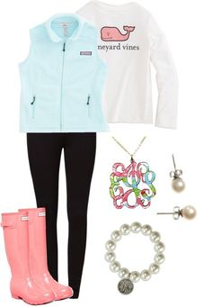 Vineyard vines by giuliannatornillo featuring sterling silver bangles ❤ liked on Polyvoreeven&odd black trousers, $26 / Hunter pull on boots / Sterling silver bangle / Lilly Pulitzer chain jewelry / J.Crew j crew earrings / Girls Outerwear: Westerly Vest for Girls – Vineyard Vines / Girls T-Shirts: Long-Sleeve Logo Tee for Girls – Vineyard Vines