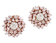 A Pair of Diamond and Coloured Diamond Earrings « Dupuis Fine Jewellery Auctioneers