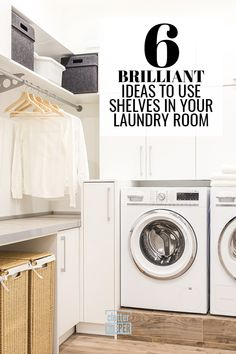 What's better - laundry room cabinets or shelves? Browse these ideas and learn how to store all your laundry supplies in a beautifully organized space. Laundry Room Shelves, Laundry Room Cabinets, Laundry Closet, Laundry Room Organization, Home Office Organization, Organization Hacks, Organizing Ideas, Sorting Clothes, Laundry Supplies