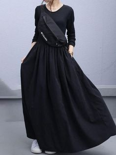 Korean Girl Fashion, Modern Hijab Fashion, Tomboy Fashion, Japanese Fashion, Skirt Outfits Modest, Modest Dresses, Boho Outfits, Long Skirt Fashion, Fashion Dresses