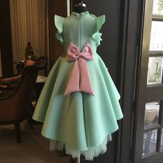 Shop Mint green short long gown Online For Kids - Curious Village Baby Gown Design, Frock Design, Kids Frocks Design, Baby Frocks Designs, Long Gowns Online, Kids Gown, Gowns For Kids, Frocks For Girls, Long Frocks For Kids