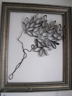 toilet paper rolls, old frame, and bendable wire