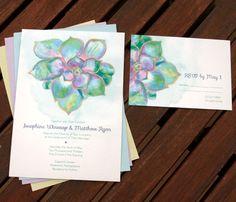 Hand Painted Succulent Invitation