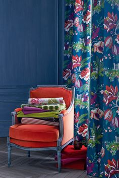 Manuel Canovas' Parfum D'Ete (drapes), Foch (chair), fabrics from T-B: Sara, Tiana, Champs-Elysees, Nura, Nura, Sana