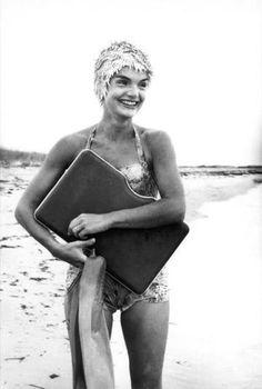 Beautiful Jackie Kennedy in swimsuit