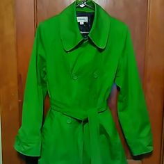 Coat Green mid length coat great condition nice coat for Spring OR Fall.  Or think EASTER!!! Merona Jackets & Coats Trench Coats
