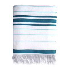 Terry Striped Fouta Towel Blue now featured on Fab. A few hung casually from hooks instead of a bar in the bath would add great color.