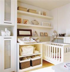 Use shelving to create floor space in your precious one's room