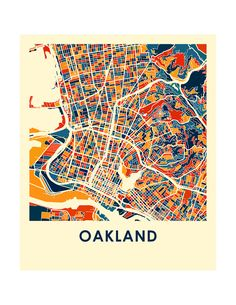 Our Oakland map print illustrates the geography and patterns of this great…