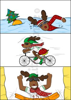 Christmas Triathlon Reindeer, Istant Download, Printable Christmas Card, flipped A4 image for t-shirt, A4 paint