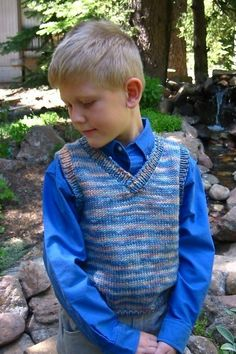 Knitting Pure and Simple--Diane Soucy--Basic Vest for Children. Thinking about knitting this for my son but in a solid color.