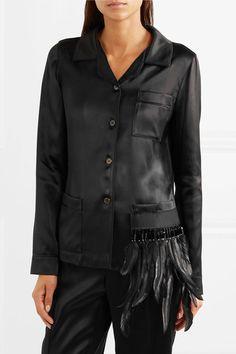 f8167bd1a1eca Prada - Embellished Feather-trimmed Satin Shirt - Black